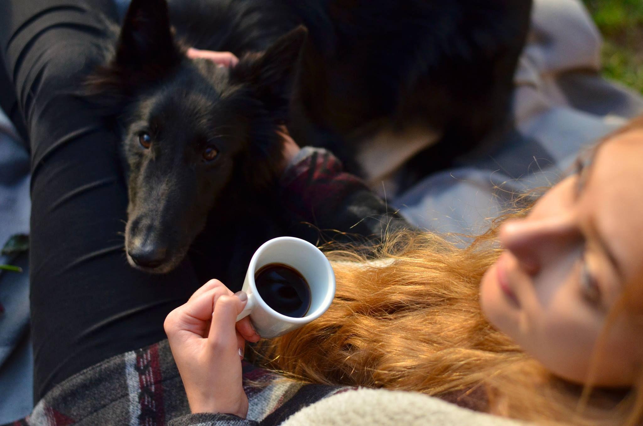 Kávézó lány kutyával